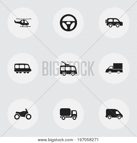 Set Of 9 Editable Shipment Icons. Includes Symbols Such As Omnibus, Drive Control, Camion And More