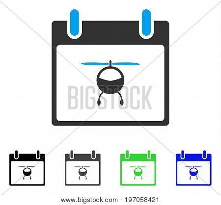 Helicopter Calendar Day flat vector pictogram. Colored helicopter calendar day gray, black, blue, green pictogram variants. Flat icon style for web design.