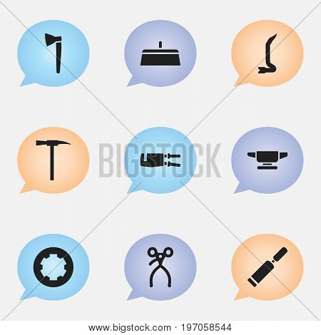 Set Of 9 Editable Apparatus Icons. Includes Symbols Such As Putty Knife, Pickaxes, Retractor And More