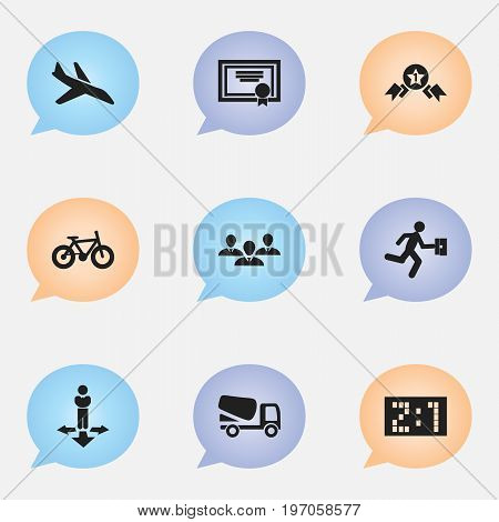 Set Of 9 Editable Complicated Icons. Includes Symbols Such As Lorry, Award, Bicycle And More