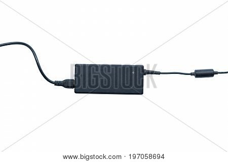 Laptop charger adapter isolated on white background