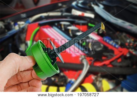 Spare parts Engine Oil Dipstick with drop oil. The gauge of level of oil in the car.