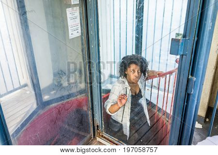 Montreal, Canada - May 27, 2017: People Inside Clock Tower In Old Port Area Climbing Stairs In City