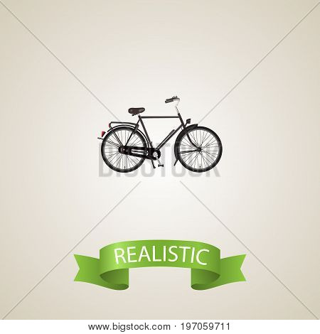 Realistic Dutch Velocipede Element. Vector Illustration Of Realistic Training Vehicle Isolated On Clean Background