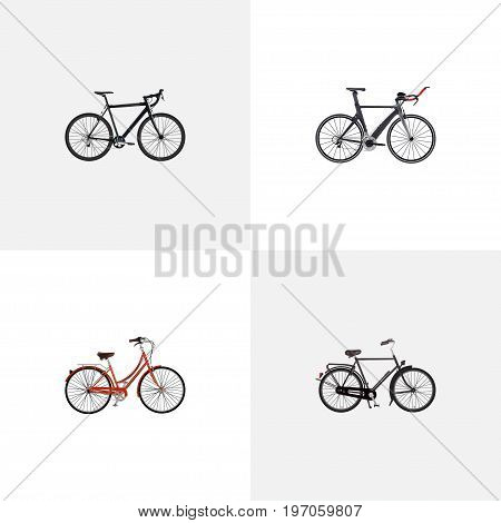 Realistic Cyclocross Drive, Training Vehicle, Retro And Other Vector Elements