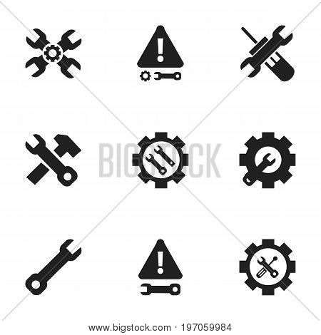 Set Of 9 Editable Repair Icons. Includes Symbols Such As Settings, Settings, Warning And More