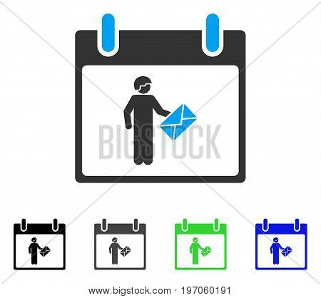 Postman Calendar Day flat vector illustration. Colored postman calendar day gray, black, blue, green pictogram versions. Flat icon style for application design.