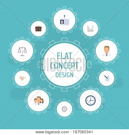Flat Icons Id Card, Portfolio, Contract And Other Vector Elements