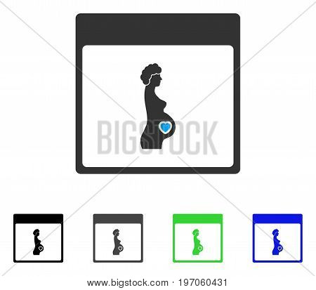 Pregnant Woman Calendar Page flat vector icon. Colored pregnant woman calendar page gray, black, blue, green icon variants. Flat icon style for web design.