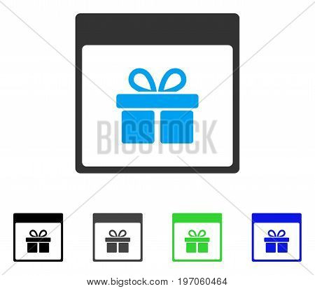 Present Box Calendar Page flat vector icon. Colored present box calendar page gray, black, blue, green pictogram variants. Flat icon style for application design.