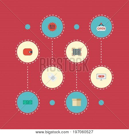 Flat Icons Sign, Shopping, Case And Other Vector Elements