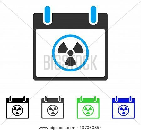 Radioactive Calendar Day flat vector illustration. Colored radioactive calendar day gray, black, blue, green icon variants. Flat icon style for web design.