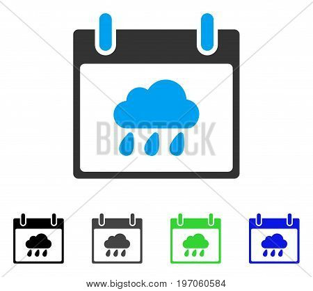 Rain Cloud Calendar Day flat vector illustration. Colored rain cloud calendar day gray, black, blue, green icon variants. Flat icon style for graphic design.