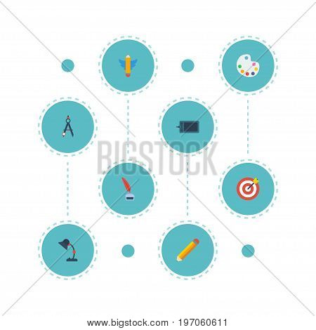 Flat Icons Arrow, Pencil, Illuminator And Other Vector Elements