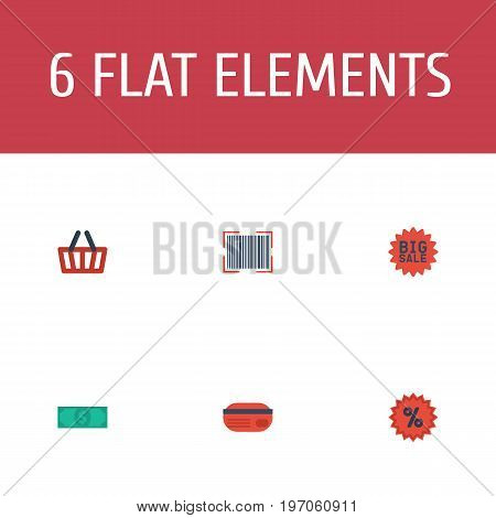 Flat Icons Percentage, Payment, Bag And Other Vector Elements