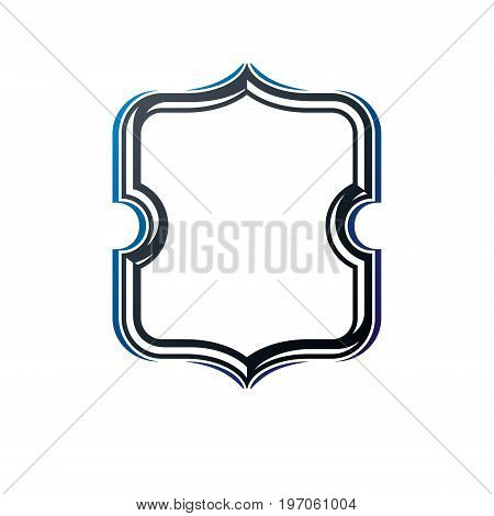 Award vintage frame with clear copy space made as art medallion design. Vector retro style protection shield guard.