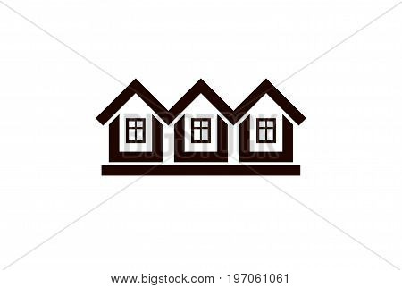 Abstract simple country houses vector illustration homes image. Touristic and real estate idea three cottages front view. Real estate business or property developer corporate theme.