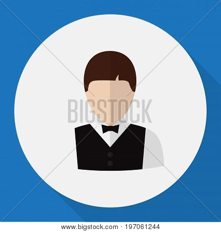 Vector Illustration Of Profession Symbol On Servant Flat Icon