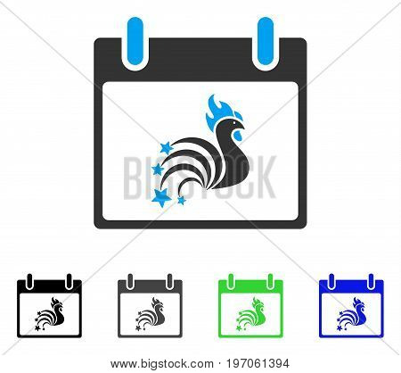 Rooster Fireworks Calendar Day flat vector illustration. Colored rooster fireworks calendar day gray, black, blue, green pictogram variants. Flat icon style for application design.