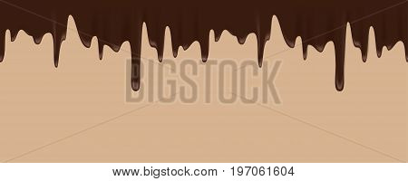 Vector seamless border of melted chocolate on a brown background