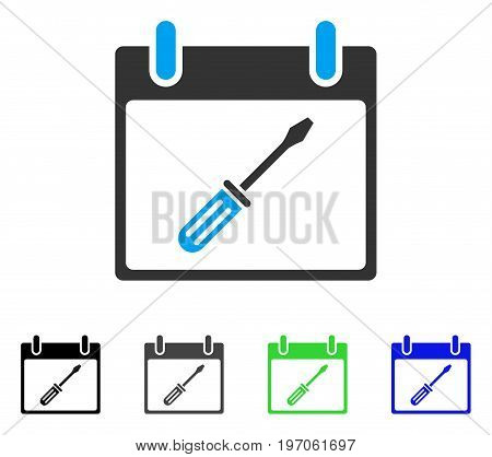 Screwdriver Tuning Calendar Day flat vector icon. Colored screwdriver tuning calendar day gray, black, blue, green icon versions. Flat icon style for web design.