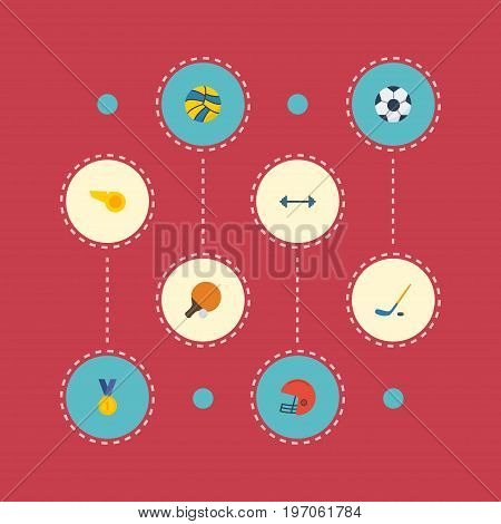 Flat Icons Kettlebells, Volleyball, Table Tennis And Other Vector Elements