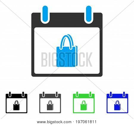Shopping Bag Calendar Day flat vector illustration. Colored shopping bag calendar day gray, black, blue, green icon versions. Flat icon style for web design.