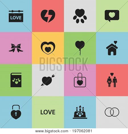 Set Of 16 Editable Heart Icons. Includes Symbols Such As Family, Butterfly, Engagement And More