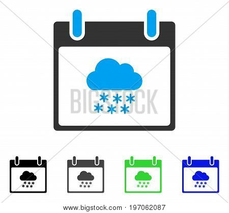 Snow Cloud Calendar Day flat vector illustration. Colored snow cloud calendar day gray, black, blue, green icon variants. Flat icon style for web design.