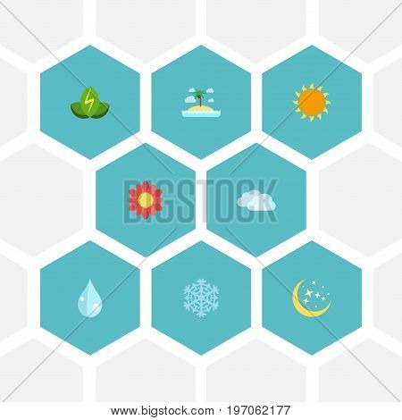 Flat Icons Sky, Sunshine, Water And Other Vector Elements