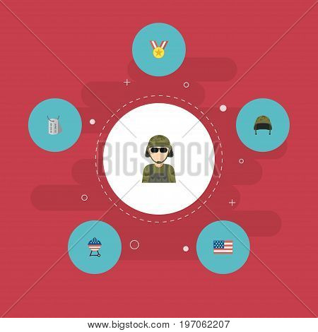 Flat Icons Soldier Helmet, Barbecue, Military Man And Other Vector Elements