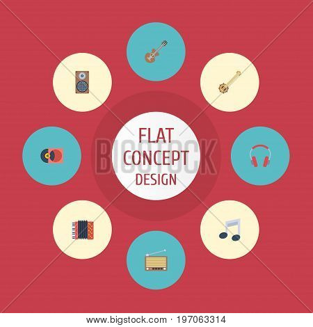 Flat Icons Banjo, Harmonica, Audio Box And Other Vector Elements