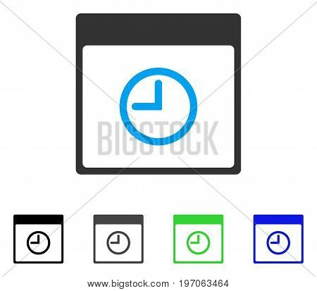 Time Calendar Page flat vector icon. Colored time calendar page gray, black, blue, green icon variants. Flat icon style for graphic design.