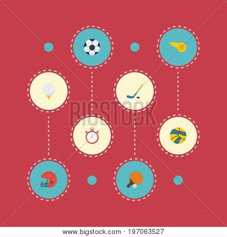 Flat Icons Blower, Second Meter, Volleyball And Other Vector Elements