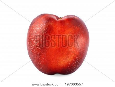 A single whole red peach, isolated over the white background. A close-up picture of natural delicious fruit. A colourful and fresh ripe nectarine for healthy summer snack.
