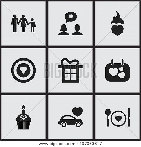 Set Of 9 Editable Heart Icons. Includes Symbols Such As Signboard, Fire Loving, Matrimony And More