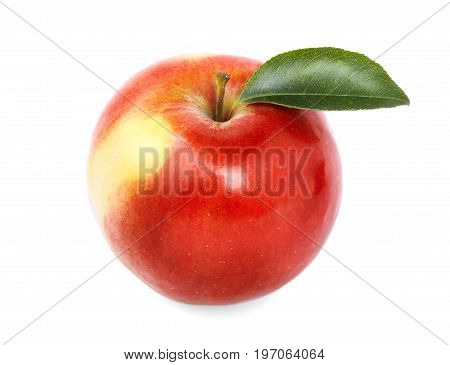 Close-up of a refreshing whole apple, isolated over the white background. Summer fruits. A colourful, sweet, juicy  fruit, full of vitamins. Nutritious healthful breakfasts and snacks.