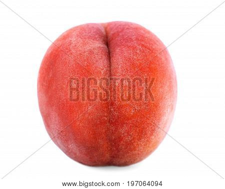 A whole tasteful red peach, isolated over the white background, close-up. Healthful and organic delicious fruit. Ingredients for nutritious summer breakfast.