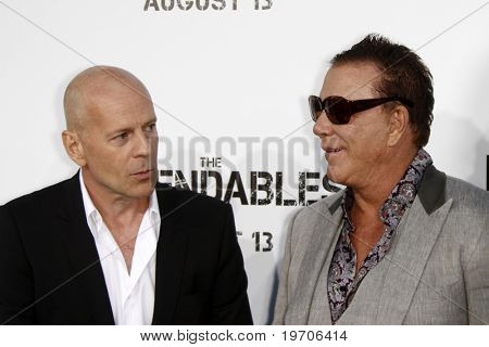 """LOS ANGELES - AUGUST 3:  Bruce Willis & Mickey Rourke arrives at """"The Expendables"""" LA Premiere at Grauman's Chinese Theater on August 3, 2010 in Los Angeles, CA"""