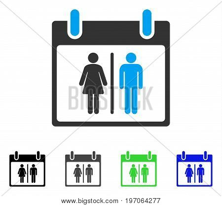 Water Closet Calendar Day flat vector illustration. Colored water closet calendar day gray, black, blue, green pictogram variants. Flat icon style for graphic design.
