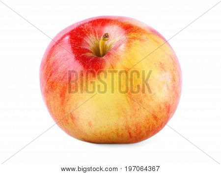 Fresh and colorful apple with clipping path isolated over the white background. A single whole and perfectly round apple close-up. Nutritious red and green apple full of vitamins.