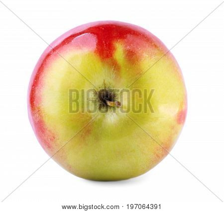 Close-up of a refreshing whole apple, isolated over the white background. A beautiful, sweet, juicy apple fruit, full of vitamins. Nutritious healthful breakfasts and snacks. Summer fruits.