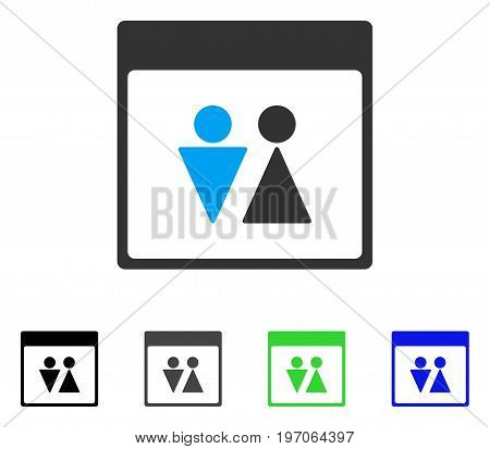 WC Persons Calendar Page flat vector pictograph. Colored wc persons calendar page gray, black, blue, green icon variants. Flat icon style for graphic design.