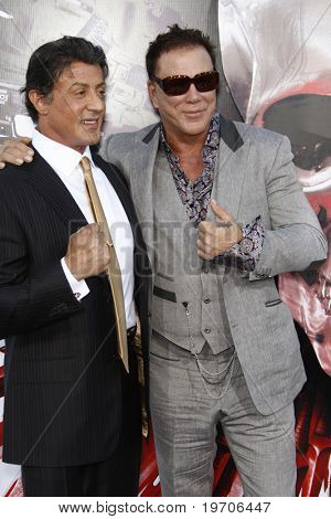 """LOS ANGELES - AUGUST 3:  Sylvester Stallone & Mickey Rourke arrives at """"The Expendables"""" LA Premiere at Grauman's Chinese Theater on August 3, 2010 in Los Angeles, CA"""