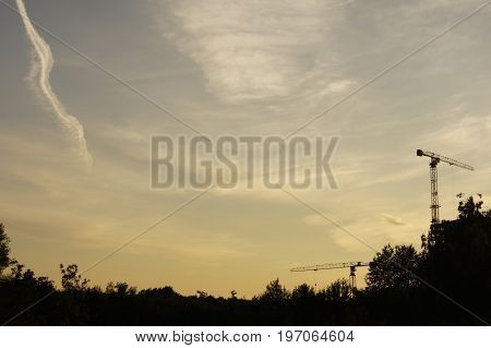 Evening landscape with two cranes near the forest on the outskirts of the city. Dark silhouette against the sky at sunset.