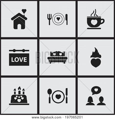 Set Of 9 Editable Heart Icons. Includes Symbols Such As Plate, Mattress, Banner And More