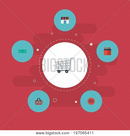 Flat Icons Shop, Cash, Trolley And Other Vector Elements