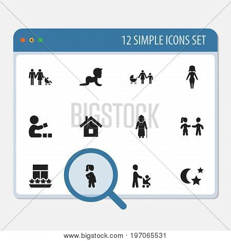 Set Of 12 Editable Folks Icons. Includes Symbols Such As Mom, Home, Midnight And More