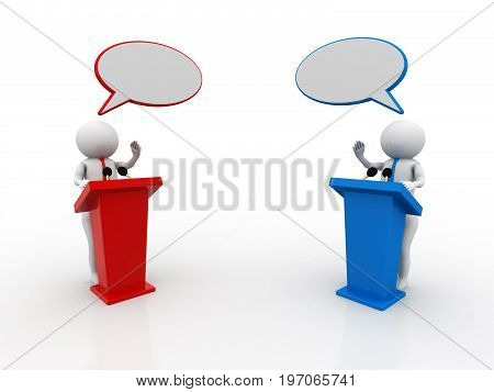 3d people - men, person speaking from a tribune. Speech at the microphone - confrontation