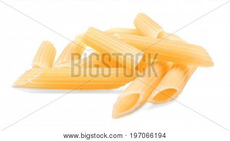 A group of penne rigate macaroni isolated over the white background. A pile of uncooked penne rigate. Delicious and nutritious flour products. Ingredients for tasteful  itlalin meals.